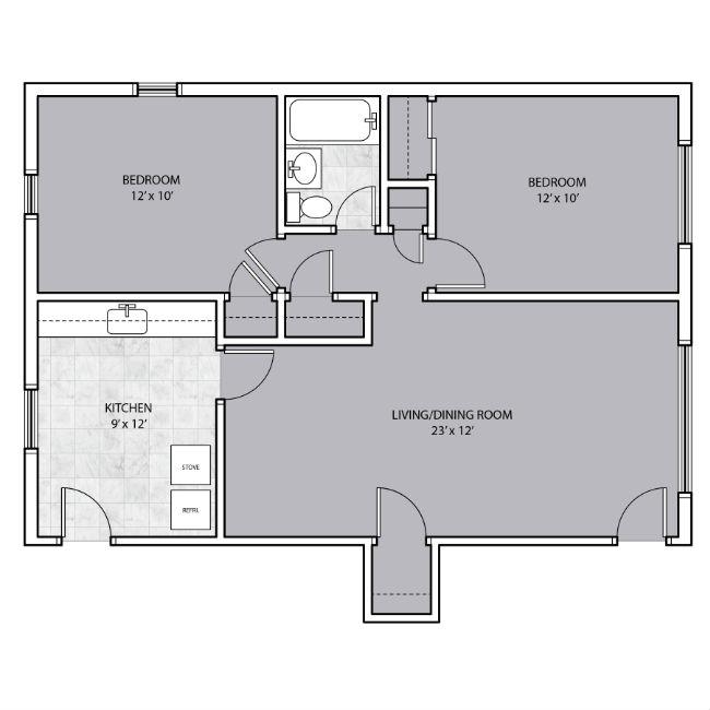 2 Bedroom with large living room area floor plan
