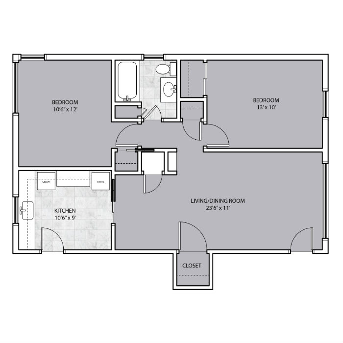 2 Bedroom apartment with closet space floor plan