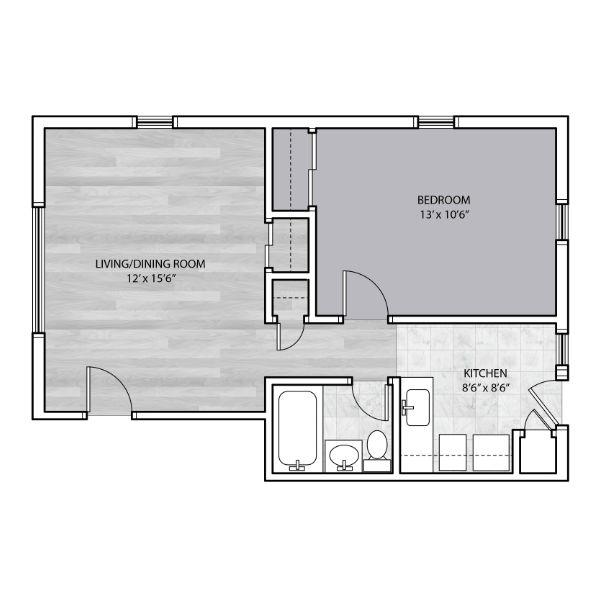 1 Bedroom apartment with large bedroom area floor plan
