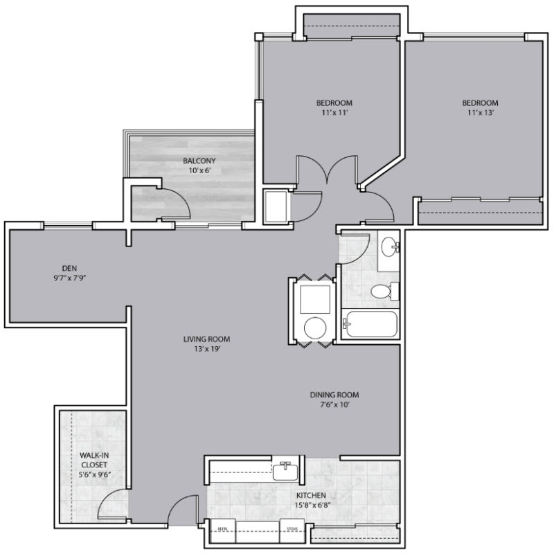 2 Bedroom 1 Bathroom Plus Den Apartments By Callan For Rent