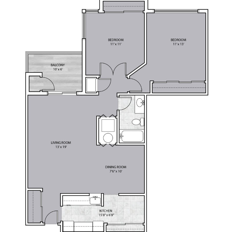 2 Bedroom with Balcony and large living area