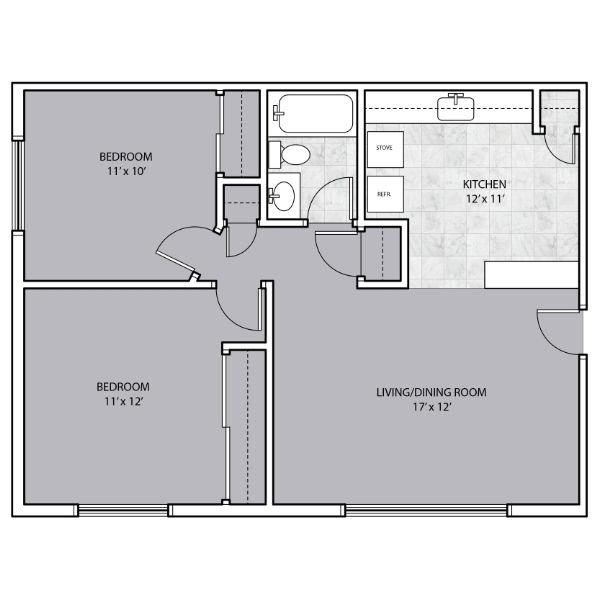 2 Bedroom with kitchen bar floor plan