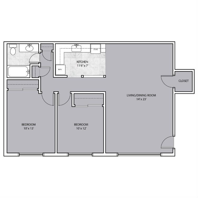 2 Bedroom with hallway closet space floor plan