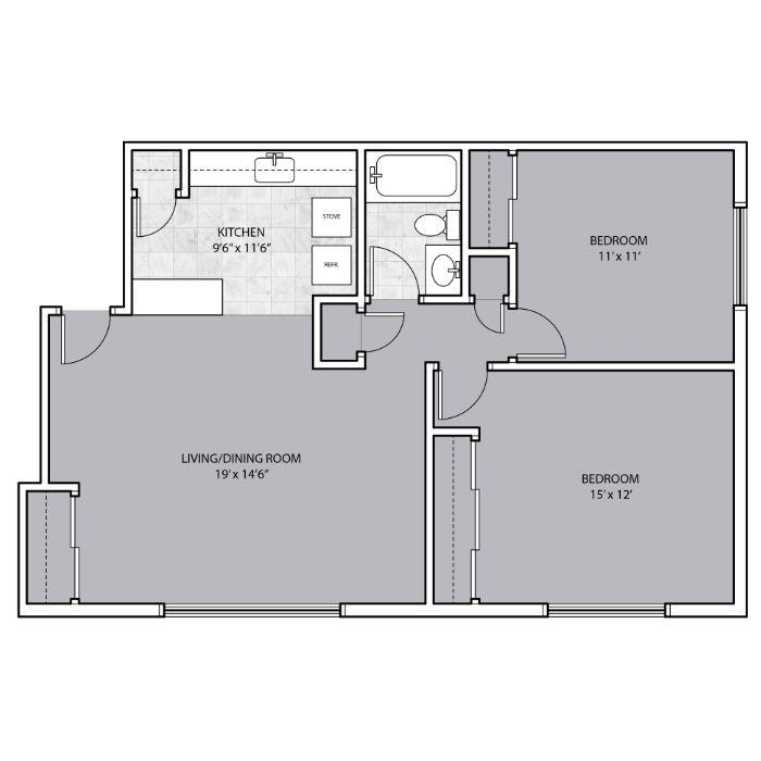 2 Bedroom 1 Bathroom floor plan for rent