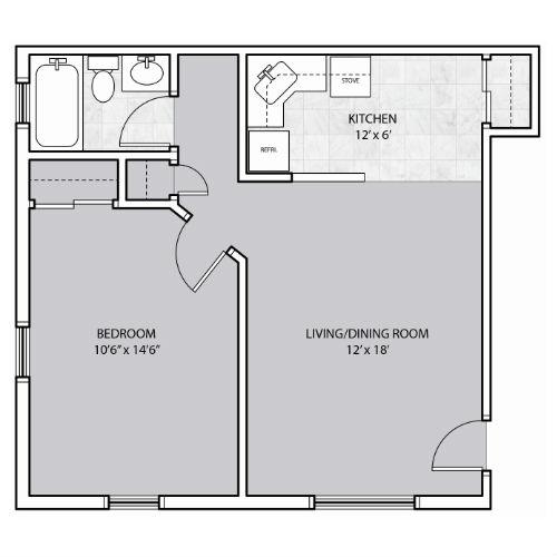 1 Bedroom apartment closet in kitchen floor plan