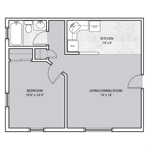 1 Bedroom apartment hallway to bathroom floor plan