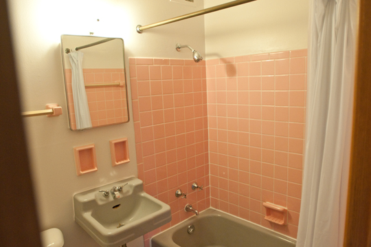 Bathroom with shower bath and pink tiled wall