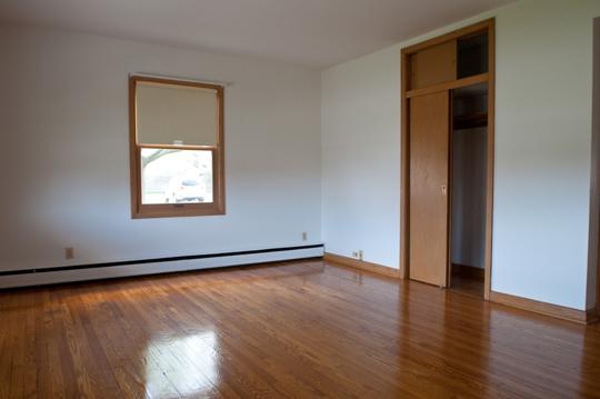 Huge bedroom with wood floor and closet