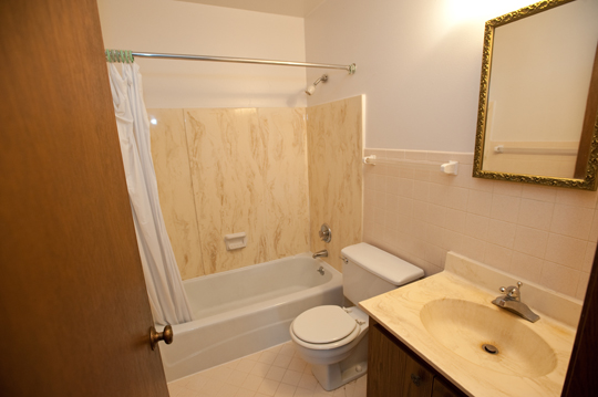 Bathroom with wall and sink counter design